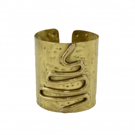 Brass bracelet with snake subject