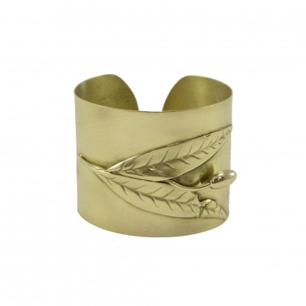 Brass bracelet with olive branch subject