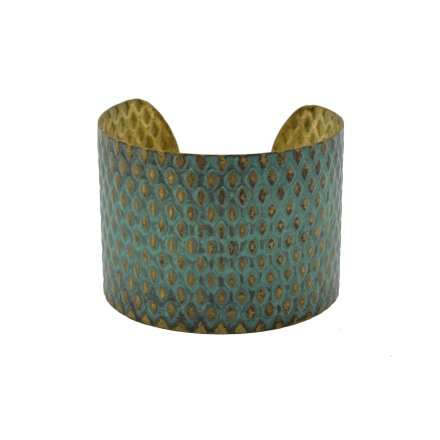 Brass bracelet full hummery with green patina