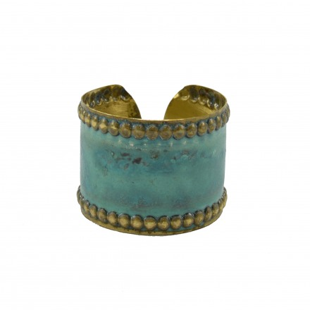 Brass bracelet, hummery with green patina