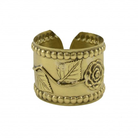 Brass bracelet hummery with rose subject